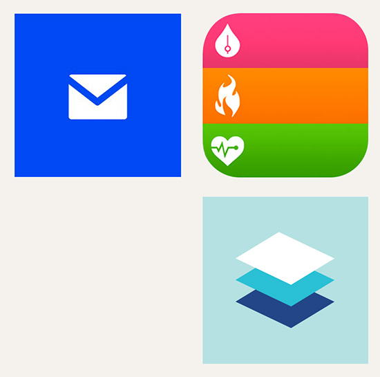 Flatland: Clockwise from top left: Microsoft Windows Phone 8; icon, iPhone IOS 8; Google Material Design concept illustration
