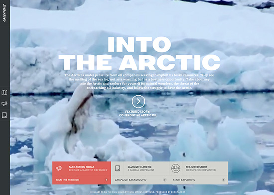 Expansive video and large scale Webfonts make Greenpeace's Into the Arctic microsite Dramatic and moving.