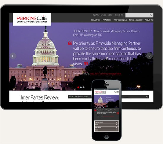 Perkins Coie's new Responsive website optimizes and resizes based upon device